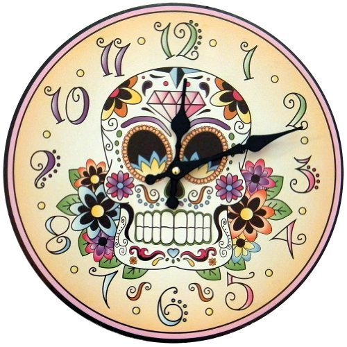 1 X Day Of The Dead Clock Skeleton Flowers Halloween Mexican Tradition Artwork (English Halloween Traditions)