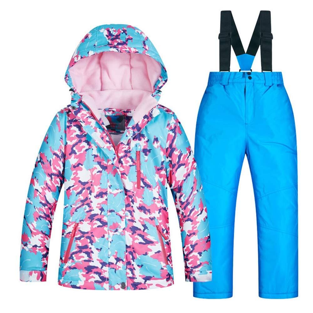 スキーウェア 子供用スキーウェアーガールズセット厚く暖かくそして防風防水 耐性ジャケット (色 : C2+青 pants, サイズ : 8 yards) C2+青 pants 8 yards