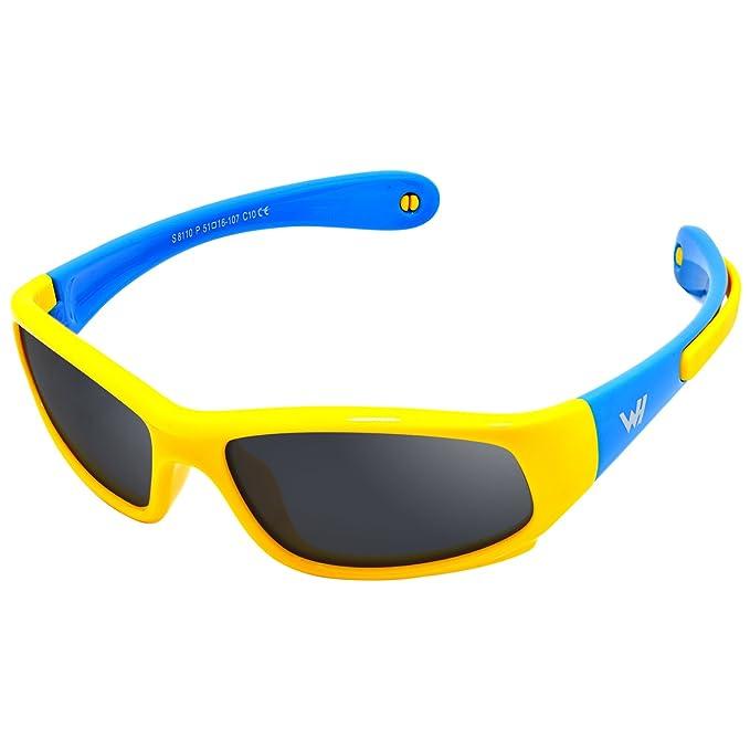 WHCREAT Gafas de sol polarizadas para niños Wrap Sport Chasis de goma flexible con bandas antideslizantes