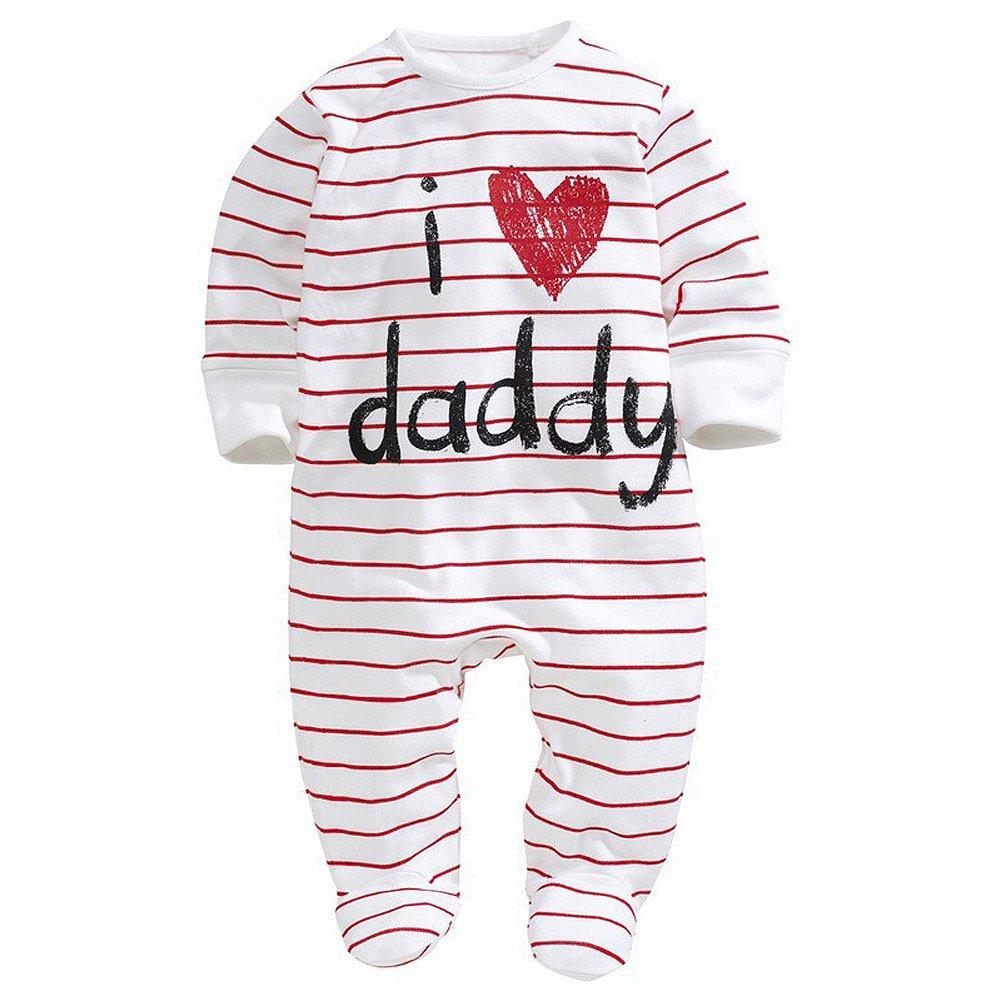 SODIAL(R) vestiti del bambino pagliaccetti del bambino unisex copertura del piede I LOVE DADDY 70CM 050709B1