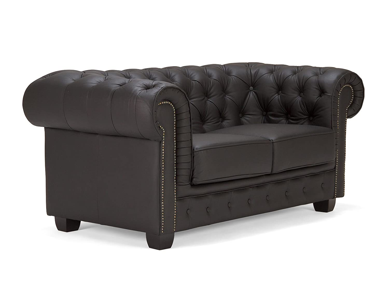 Massivum 10003672 Sofa Leder, schwarz, 95 x 172 x 79 cm