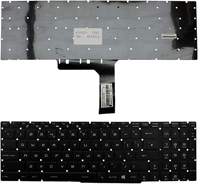 Keyboards4Laptops UK Layout Backlit Black Windows 8 Replacement Laptop Keyboard Compatible With MSI NSK-FCBBN: Amazon.co.uk: Computers & Accessories