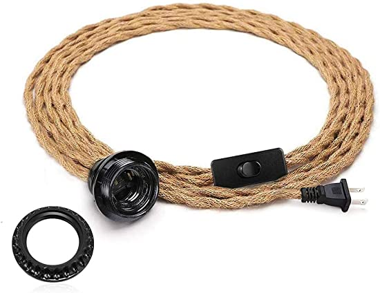 Vintage Plug in Pendant Light Cord, Lansidun 15FT Twisted Hemp Rope Hanging Light Cord Kit with On Off Switch, Industrial Pendant Lighting E26 Socket for Pendant Lamp Farmhouse Lamp Cable DIY
