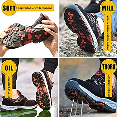 Jabasic Mens Construction Safety Work Shoes Slip Resistant Steel Toe Sneakers: Shoes