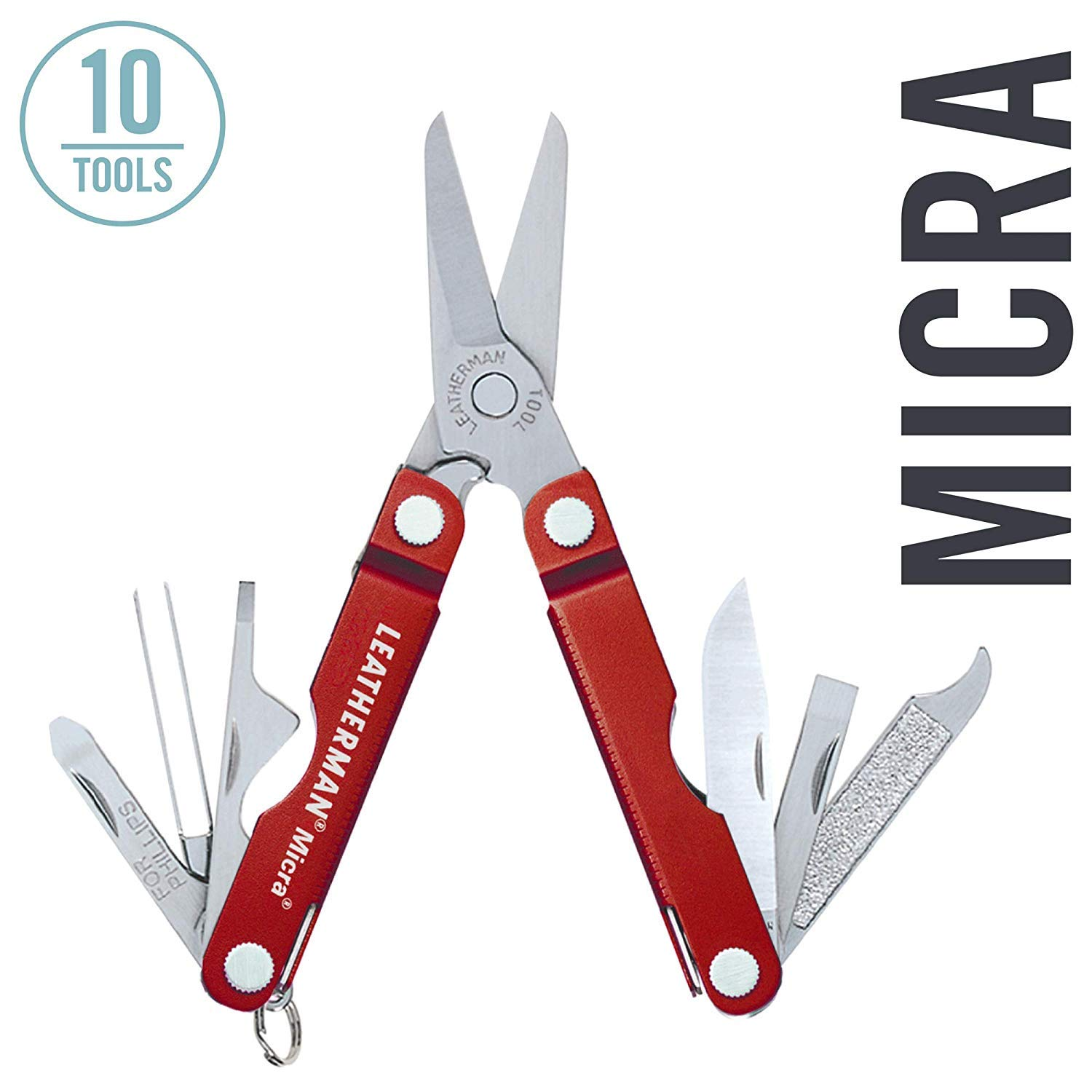 LEATHERMAN - Micra Keychain Multitool with Spring-Action Scissors and Grooming Tools, Stainless Steel, Red