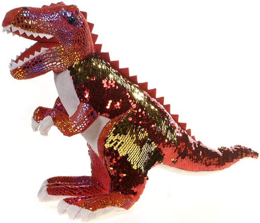 Fiesta Toys Reversible Sequin Red and Gold T-Rex Dinosaur Dino Jurassic Plush Stuffed Animal Toy - 17 Inches