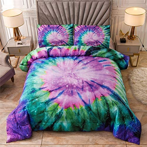 Style 2,King ZEIMON Colorful Bedding Tie Dyed Duvet Cover Set Luxury Blue Yellow Spiral Psychedelic Pattern Boho Hippie Bedding Sets Boys Girls 1 Duvet Cover with 2 Pillowcases