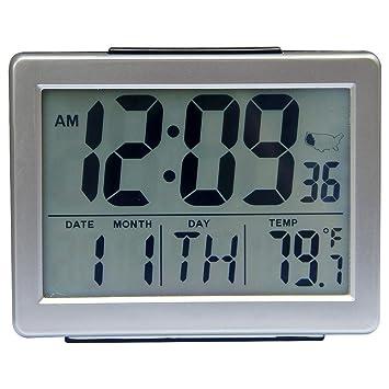 chengsan gran número Atomic reloj automático para juegos tiempo, repetición de alarma luz gran pantalla