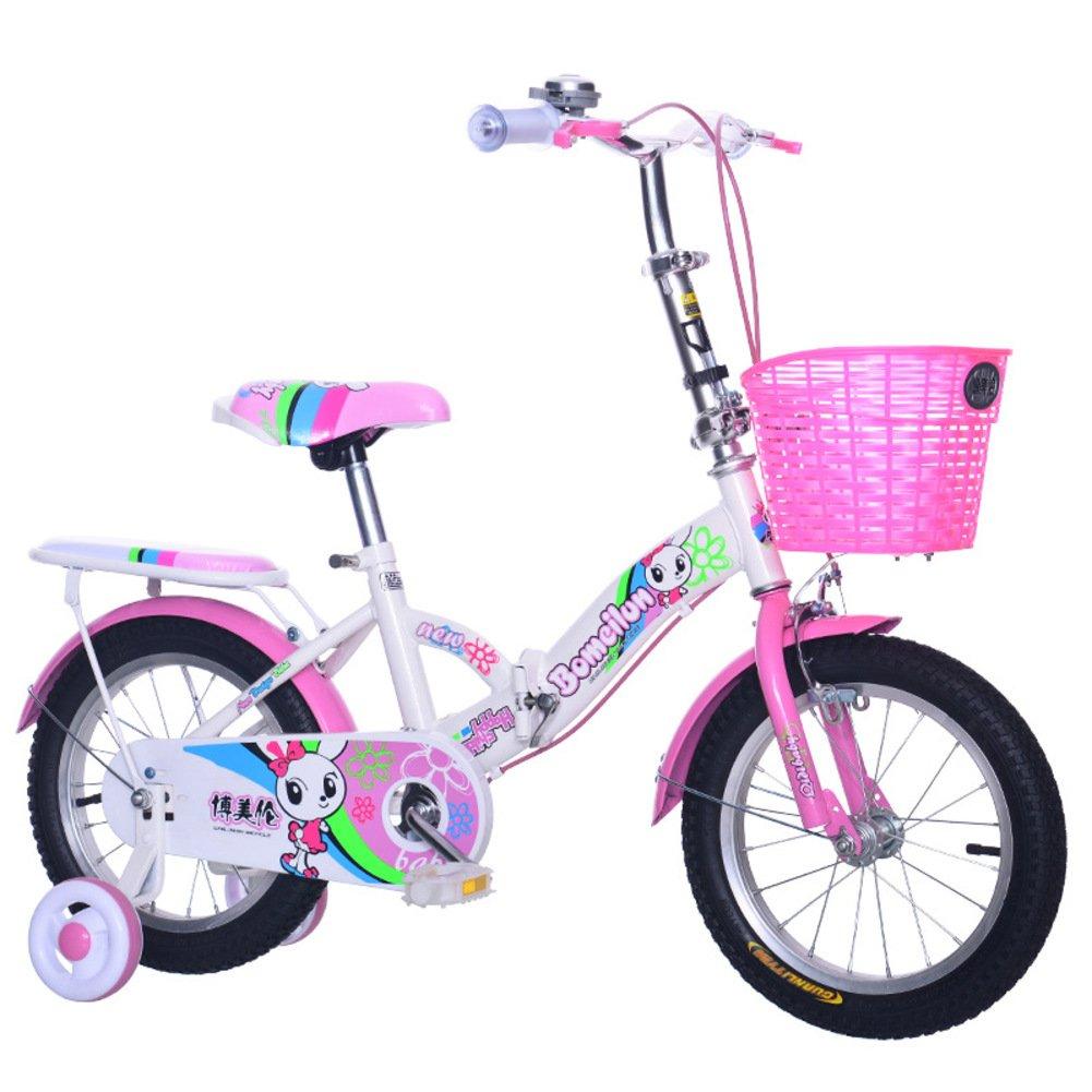 子供用折りたたみ自転車, 学生折りたたみ自転車 軽量 折りたたみ自転車 4-5 年の古い B07DK7H6DB 16inch|ピンク ピンク 16inch