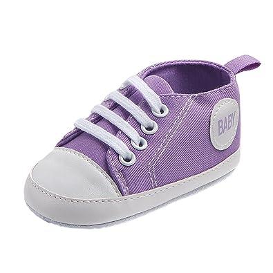 ae78ec5fe258e Sharplace Chaussures Premiers Pas Bébé Fille Toile Basket Préwalker  Printemps Eté - Violet