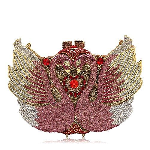 de de Color pour Mariage Swan With Femmes De Sac Pochette Strass Bourse Crystal Soirée Joy Haute Gold Gold Pink Qualité Soirée discothèques Miss Sculpt Luxe 8f4wUqRax