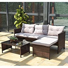 Product descriptionTangkula 3-piece outdoor wicker furniture is great additional to your outdoor space. The set includes 1 loveseat sofa, 1 chaise lounge and coffee table. The set can be arranged in different ways to fit your space. With soft and thi...