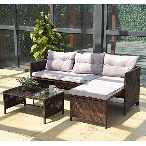 Tangkula 3 PCS Outdoor Rattan Furniture Sofa Set Lounge Chaise Cushioned Patio Garden - Patio Furniture Chaise Lounge