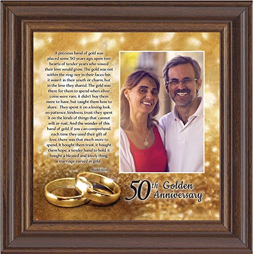 Bands of Gold, Personalized 50th Wedding Picture Frame, 10x10 6779 (10x10, Walnut2) (50th Wedding Anniversary Poem)