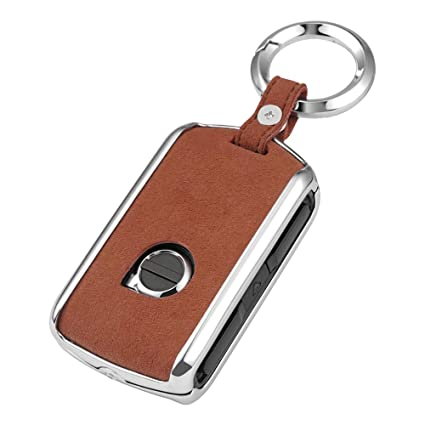Zinc alloy /& leather Key fob for Volvo xc60 xc90 s90 v90 smart Car Key Remote control protector Holder with Keyring key case key shell red ontto Car Key Cover for Volvo
