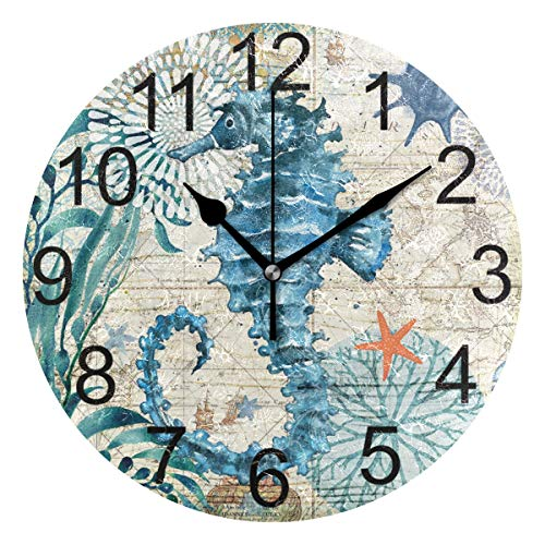 (LUCASE LEMON ALEX Blue Seahorse Nautical Map Round Acrylic Wall Clock Non Ticking Silent Clocks for Home Decor Living Room Kitchen Bedroom Office School)