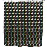 Uneekee Giraffe Parade Shower Curtain: Large Waterproof Luxurious Bathroom Design Woven Fabric