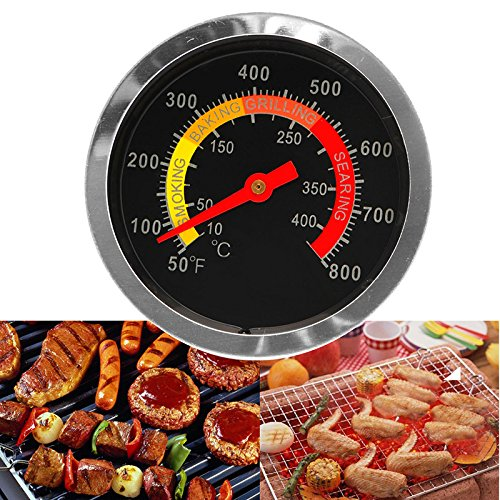 HittecH Stainless Steel Barbecue BBQ Smoker Grill Thermometer Temperature Gauge 10-400