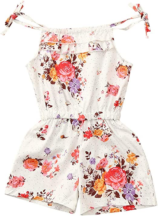 Baby Girl Summer Sleeveless Rompers Rose Flower Print Fashion Jumpsuit Kids Gift