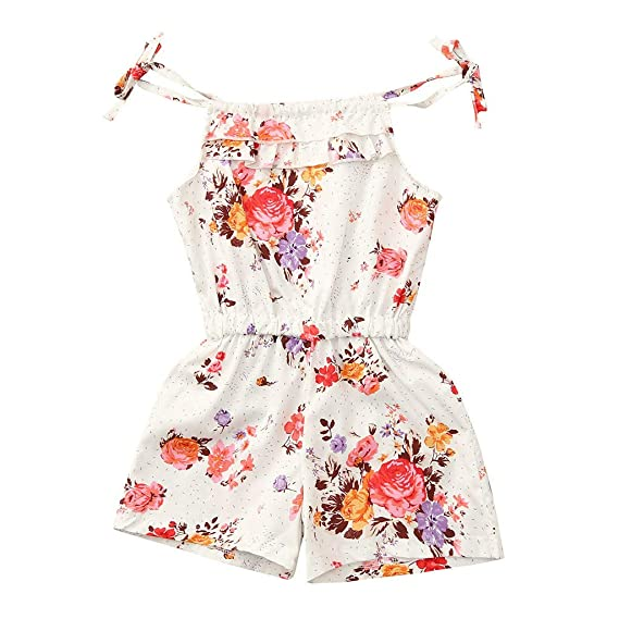 Toddler Kids Baby Girls Floral Clothes Sleeveless Romper Dress One Piece Outfit