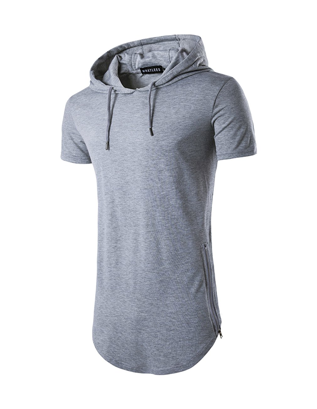 Men's Hipster Hip Hop Hoodies Side Zipper T Shirt Casual Cotton Pullover Hoodies Shirts (Large, Grey)