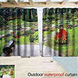 SEMZUXCVO Grommet Curtain Country Home Decor Collection Bromeliad at Mae Fah Luang Garden Lawn Flower Beds Evergreens Wooden Seat Image Darkening Thermal Insulated Blackout W55 x L39 Lilac Red Green