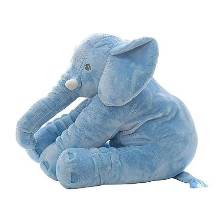 CTlite - Almohada de Peluche con Forma de Elefante para bebé, niña, niño, recién Nacido, Azul, 60 cm