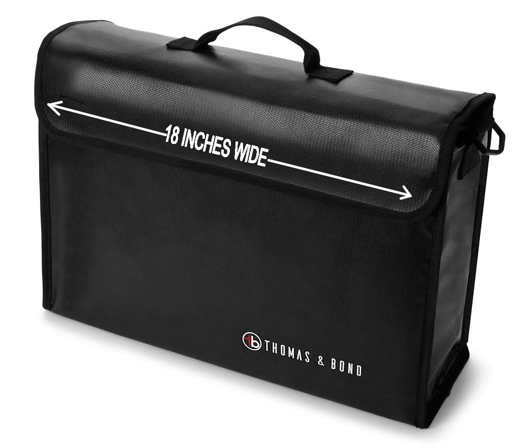 Thomas & Bond Extra Large Fireproof Bag 18x12x5 Holds Legal Size Files and Binders Without Bending. A Large Fireproof Document Bag With Non Itchy Water Resistant Heat Protection by Thomas & Bond
