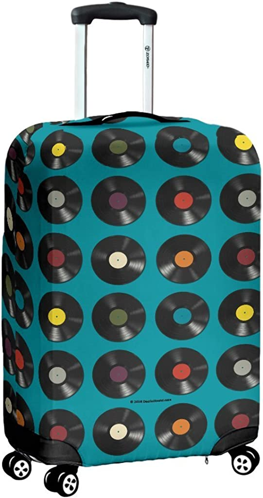DealioHound Vinyl Records Design #1 Blue Rolling Travel Luggage Cover//Protector