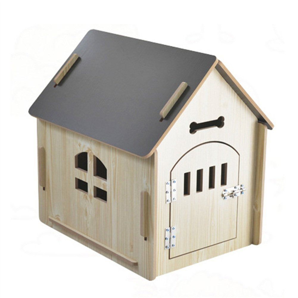 574457cm Ryan Wooden Pet Kennel House Cave Foldable Pet With Window Door 51  37  52cm, 57  44  57cm, 75  55  75cm For Dog Cat (Size   57  44  57cm)