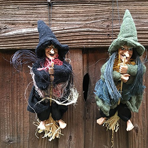 Zehui Halloween Shows Witch Strolling Small Witch With Magic Mop Party Supplies Decoration Small Pendant House Bar KTV Decoration Random