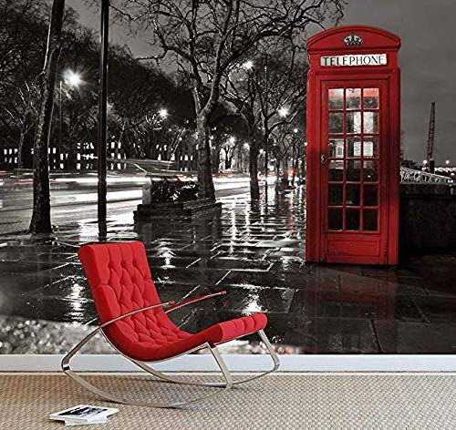 Wandaufkleber Wandtattoo Wohnzimmerlondon rot Telefonzelle Wandbild Fototapete schwarz & Weiß Iconic View