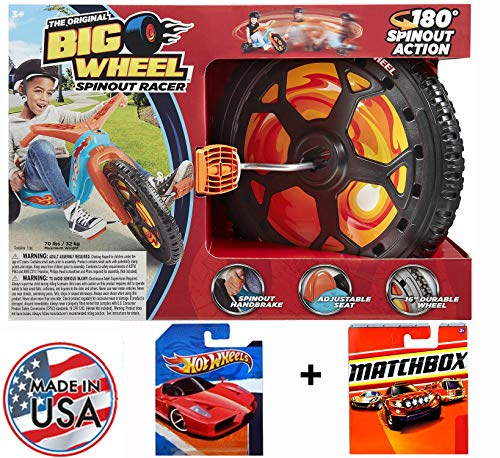"""The Original Big Wheel """"Orange SPINOUT 16 Inch Limited Edition Ride-on Trike with a 4 Cars: 2 Random Hot Wheels and 2 Matchbox 1:64 Scale Collectible Die Cast Car Models -  TheOriginalBigWheel.com, bwSpin2018OrHM"""