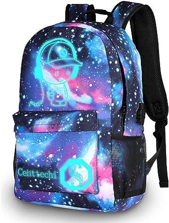 beil/äufige Tasche Leuchtende Nacht Rucksack Blaues Graffiti Segeltuch Schultasche Arbeits Beutel Schulranzen Schule Netter Rucksack Noctilucence bunter Segeltuch Laptop Beutel