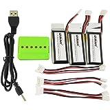 Fytoo Batteries de Li-polymère de 3PCS 3.7V 350Mah avec le chargeur 3en 1 et la ligne de transfert de charge de 1to3 pour UDI U818A WiFi FPV U845A U945 WiFi RC quatre - pièces de rechange de drone d'avion