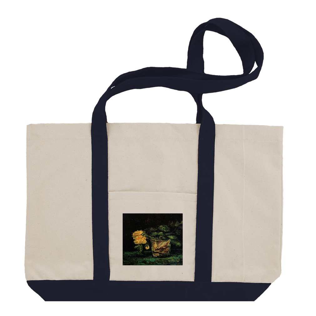 Glass With Roses (Van Gogh) Cotton Canvas Boat Tote Bag Tote - Navy