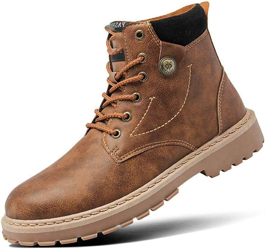 OUTDQSAFE Herren Stiefel Mode Stiefeletten Winter Männer Motorrad Stiefel Oxfords Schuhe Leder Stiefeletten Freizeitschuhe 7823 Black yS2mx