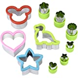 Hhyn Sandwich Cutters for Kids Stainless Steel Sandwich Cutter Set 4 Bread Cookie Cutters for Sandwiches and Bonus 6 Vegetable Cutter Shapes
