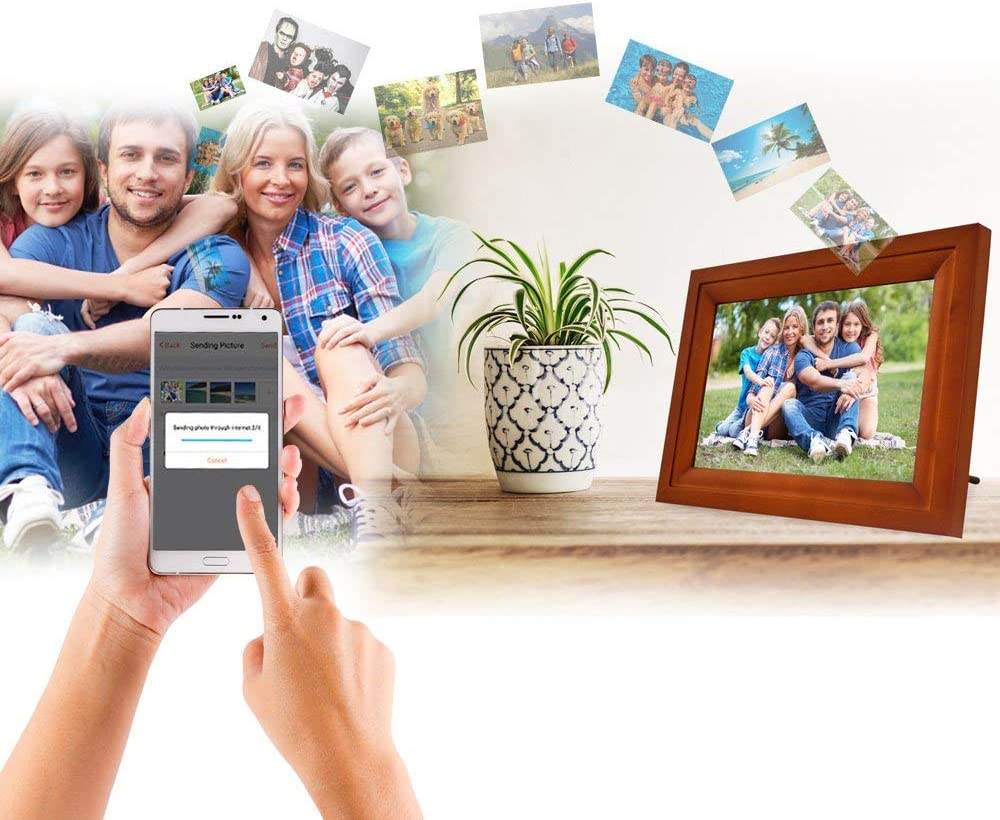 Life-Made Wi-Fi Digital Picturs Frame Touch Screen Digital Photo Frame Works with iPhones and Android 13 Vintage Wood