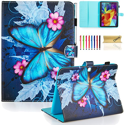 Galaxy Tab 4 10.1 Case,T530 Case,Dteck(TM) Slim Flip Stand Case with Cards Slots [Auto Wake/Sleep Feature] Magnetic Smart Shell Cover for Samsung Galaxy Tab 4 10.1 SM-T530/T530/T531,Blue Butterfly (Samsung Galaxy Tab 4 Case Art)