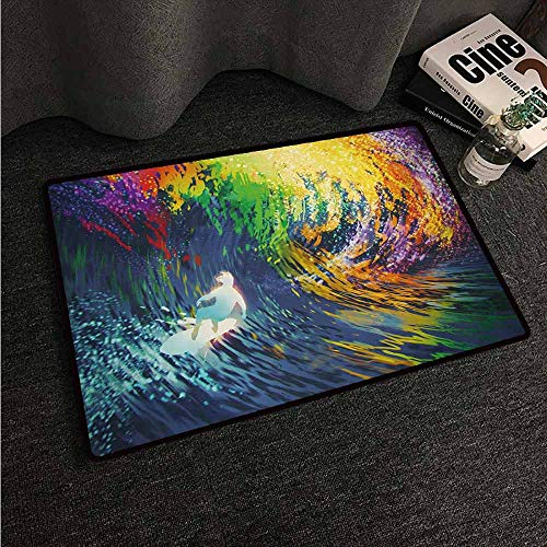 HCCJLCKS Non-Slip Door mat Modern Exotic Surfer in The Ocean Waves with Digital Featured Effects Sports Hobby Graphic Easy to Clean Carpet W35 xL59 Multicolor