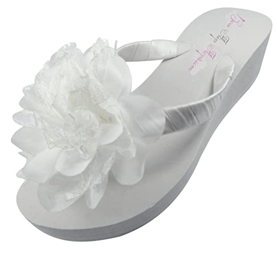 b91a24e6d7fd Amazon.com  Bridal Flip Flops Ivory White Wedge Womens Wedding Lace  Platform Flower Satin Flip Flops  Handmade