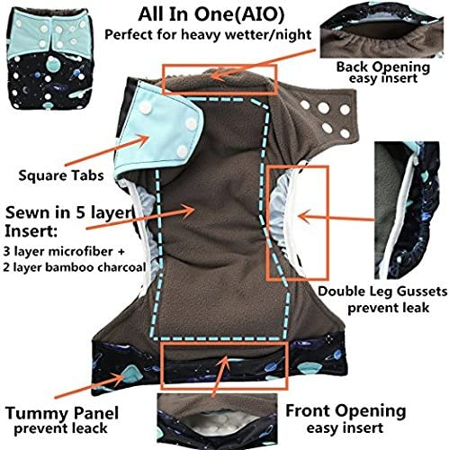 L15 AIO Reusable Washable Cloth Diaper Nappy Charcoal Bamboo Insert Overnight Double Gusset
