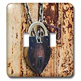 3dRose Danita Delimont - objects - Lock on a rusty steel door, Cow Hollow, San Francisco, California - Light Switch Covers - double toggle switch (lsp_258853_2)