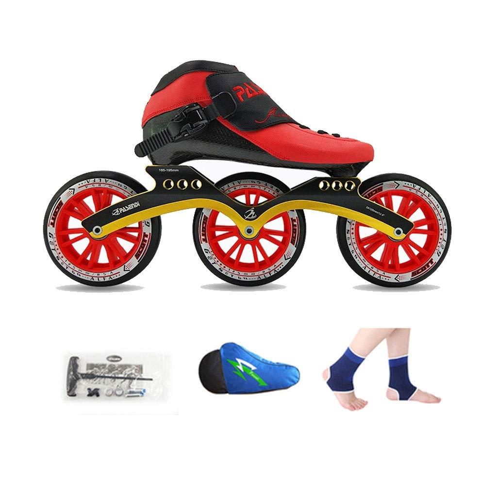 国産品 Ailj インラインスケート 大人3X125MM高弾性PUホイール 子供用単列スケート 2色 色 : ブラック 定番キャンバス サイズ さいず EU 42 6 24.5cm 39 JP 赤 9 B07Q4WB8MK US 7 UK 8 26cm