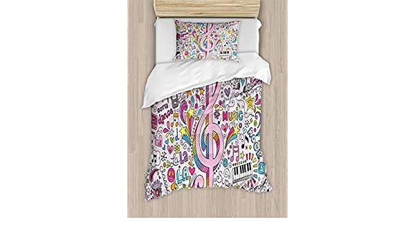 Amazon.com: Girls Boys Child Queen Bedding Sets,70s Party Duvet Cover Set,Music Clef Groovy Psychedelic Doodles Hand Drawn Hippie Symbols Signs Artwork,Cosy ...