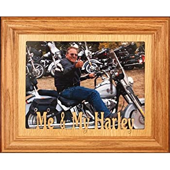 8x10 ME & MY HARLEY ~ Landscape Fruitwood Stained Picture Frame ~ Gift for a Harley Davidson Lover
