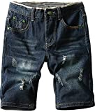 Men's Vintage Ripped Holes Destressed Mid Rise Denim Jeans Cargo Board Shorts, Dark Blue, US 28
