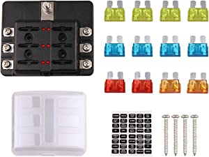 Faylapa 6 Way Fuse Box Holder Block for Blown Fuse,Marine Car Boat Automotive Blade Fuse Holder with Cover & Fuse & Stickers