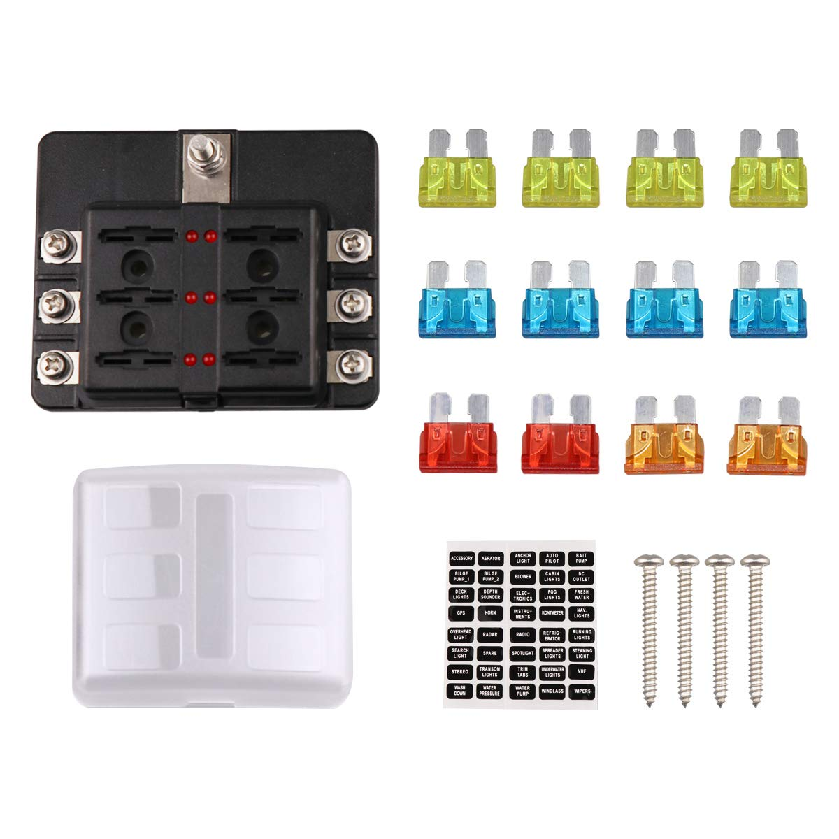 Best Rated In Fuse Blocks Holders Helpful Customer Reviews Automotive Wiring Block Faylapa 6 Way Box Holder Marine Car Boat Blade With Cover